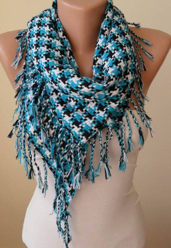 Mothers Day Gift  Turquoise Scarf  Houndstooth Scarf  Thick Cotton  Mother's Day Scarf