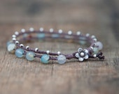 Agate and Silver Waxed Linen Beaded Bracelet Finished with a Leather and Thai Silver Flower Clasp