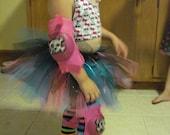 FREE Shipping--Roller Girl Pink & Tourquois Glitter Tutu
