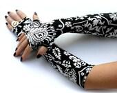 Victorian black and white ,  damask  fingerless  gloves  -  Arm Warmers,  Gothic, Dark, steampunk, flower
