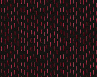 Red Thread: Red Dashes on Black 5910 by Marisa for Creative Thursday 1 Yard Cut