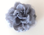 Large Organza Flower Brooch, SILVER GREY, Sash Flower, Headpiece, Dress accessories, Hair fascinator