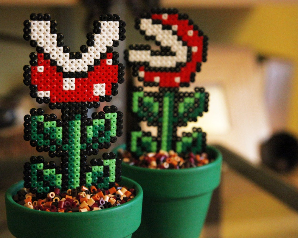 Super mario inspired big potted piranha plant two by for Plante mario