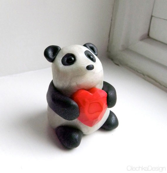 Cute Panda Sculpture with Heart - Polymer Clay