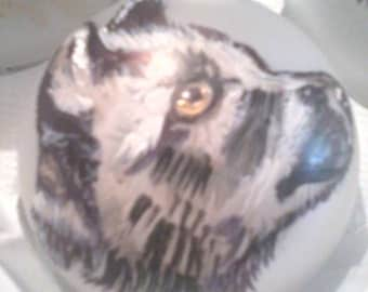 Custom Wolf  Pup Portrait Christmas Winter Hand Painted Ornament
