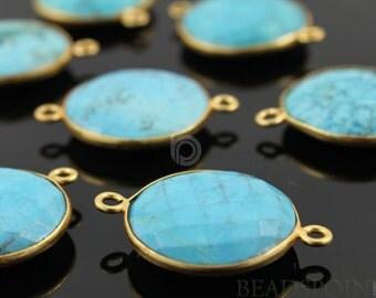Natural TURQUOISE, Bezel  Coin Shape Turquoise Component, Gold Vermeil,  20mm, 1 Piece, (BZC7104)