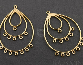 24K Gold Vermeil Over Sterling Silver, Pear Drop Chandelier Earring Component, Gorgeous Jewelry Component Finding, 1 PAIR  (VM/891/50x33)