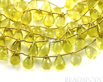 Natural '' NO TREATMENT'' Lemon Topaz Large Micro Faceted Tear Drops, AAA Quality Gemstones 10x13mm , 1 Strand (LTZ10x13TEAR)