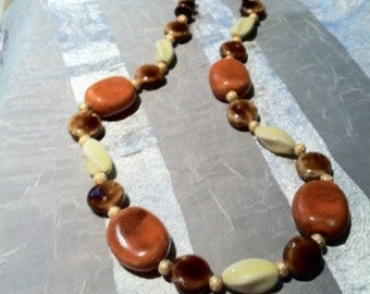 Soft Autumn Beauty Necklace OOAK Porcelain Picasso Beads