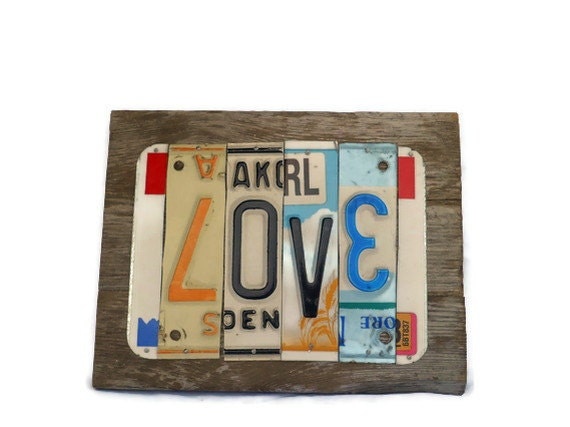 Love Sign - License Plate Sign - Rustic Metal Sign - Reclaimed Wood Sign - Colorful Love Decor - Rustic Wedding Decor - Love Is Love