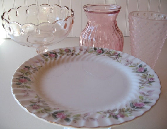 Dessert Stand,  Pink Tablesetting, Pink Vases, Pink Compote, Wedding Shower,  Baby Shower