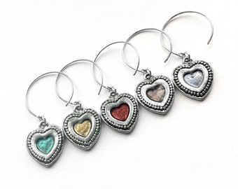 Silver Heart Wine Glass Charms, Colorful, Housewarming Present, Cute Wine Charms, Bridesmaid Gift