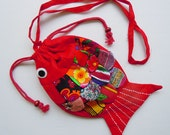 New Handmade Fish Patchwork Shoulder Bag Purse 100% Cotton Red