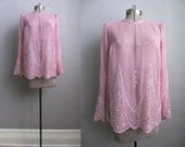 1960s Vintage Beaded Blouse Sheer Pink Long Sleeve 60s Blouse Size Medium