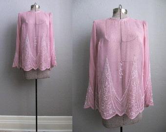 1960s Vintage Beaded Blouse Sheer Pink Long Sleeve 60s Blouse Size Medium