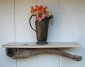 "Driftwood shelf, 24"" distressed white antique-white crackled shelf with Maui driftwood"