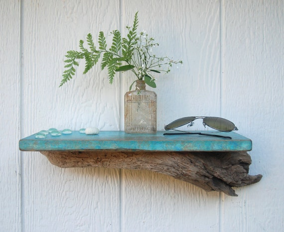 Bathroom wall shelf 15 patina hand painted wall for Driftwood wall shelves