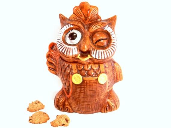 Sale Retro Winking Owl Cookie Jar Vintage