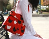 40% OFF CLEARANCE - Red Rooster Cotton Shoulder Bag