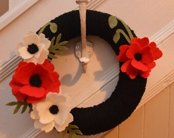 "Yarn Wreath - REMEMBRANCE DAY WREATH - 12"" Yarn Covered Wreath with Felt Flowers and Felt Accents"