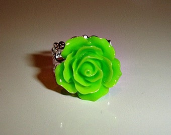 Lime Green Vintage Style Rose Silver Filigree Adjustable Ring - Beautiful - Free Shipping!