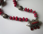 Afghani silver and coral amulet on coral necklace