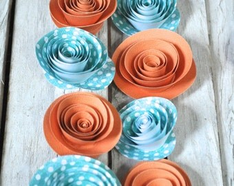 Orange and Teal Paper Flowers  Set of 25 Flowers