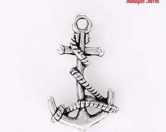 5 pieces Antique Silver Anchor Charms