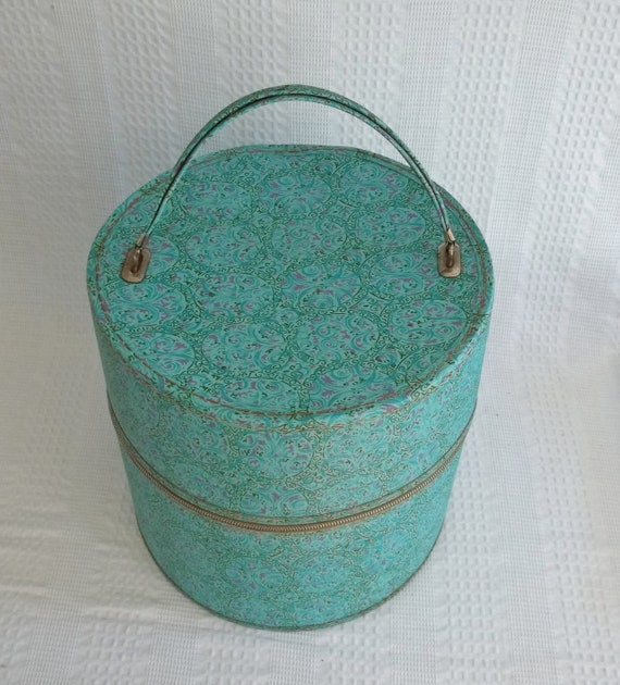 Vintage Wig Case Hat Box Turquoise With Metal Zipper Nice