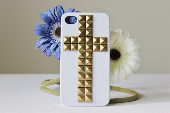 Steampunk Bronze (or Silver) Pyramid Studs Studded White Cross iPhone 4 & 4S Studded Hard iPhone Case