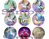 "Unicorns 1"" Circle Images Digital Collage Sheet Bottle Cap Images  Printable"