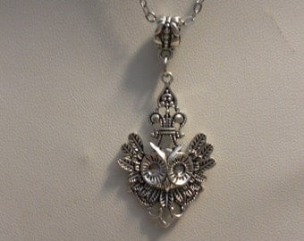 Antique Silver Victorian Gothic Goth Steampunk Owl Necklace
