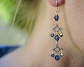 Montana blue crystal and silver linear drop earrings by Cerise Jewelry