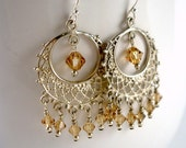Topaz crystal and silver chandelier earrings by Cerise Jewelry
