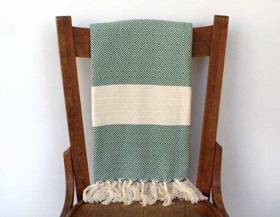 Best Quality Cotton Bath Towel : DREAM SEEKER PESHTEMAL - Extra soft hand-woven Turkish peshtemal, cotton blanket, green cream striped