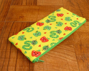 Worm & Apple Zipper Pouch/Gadget Bag/Coupon Holder