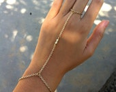 SALE 14K Shiny Gold 3 Nugget Bead Hand Chain Bracelet Ring