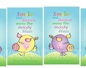 Pig Bookmark, bookmark set, dancing