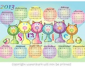 Cats Calendar, new year calendar, 2013, 12 x 8 inches