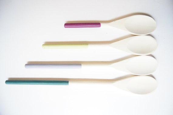 Wooden Spoons Set of 4: Berry Colors, Modern Home Decor
