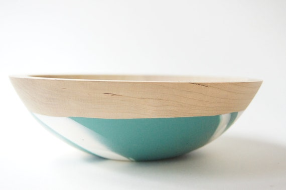 """Wooden Salad Bowl, 7"""" Teal and White Swirl, Modern Decor, Cherry Wood"""