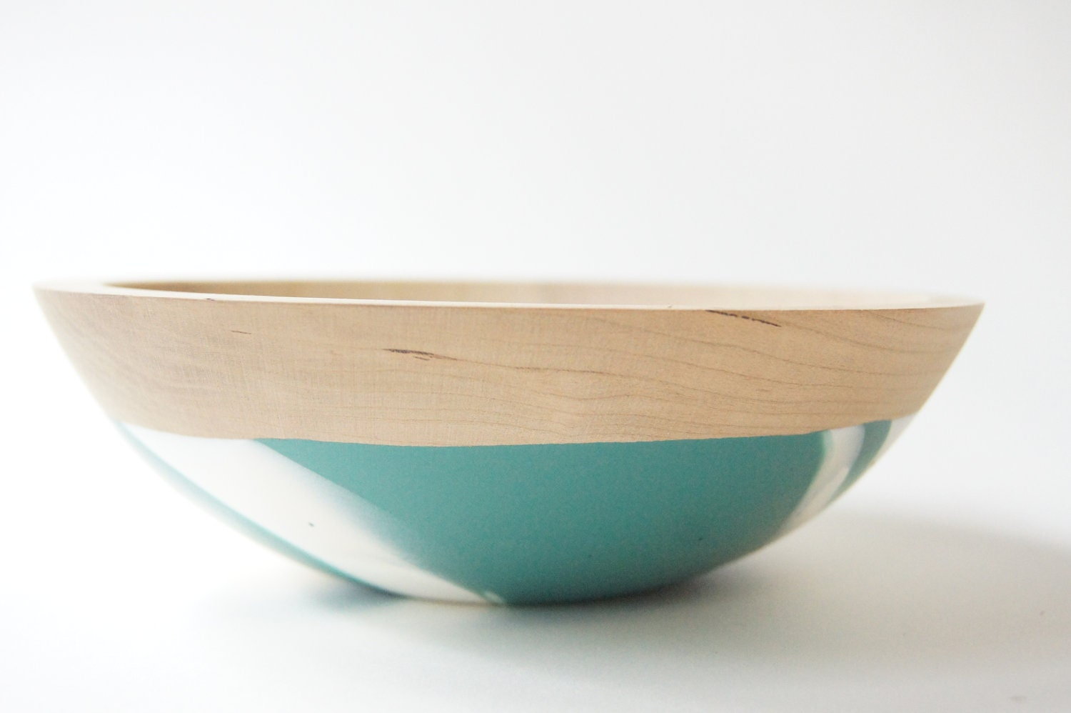 Wooden Salad Bowl 7 Teal And White Swirl Modern Decor