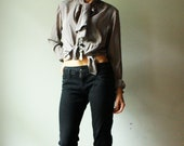 vintage gray pinstripe blouse with bolo bow-tie. size m. ready to ship.