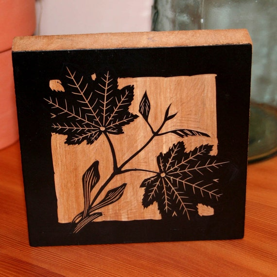 Vine maple wood block carving nature art on pear by