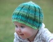 SALE! Verigated Green Stripe Winter Baby Hat