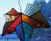 Fall Leaf in Stained Glass Hanging Ornament, Fall Decor- Two Available  - Reduced Over 20 Percent