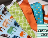 CUSTOM ORDER for RUBY - Customized Fabric Party Bunting with Elephants, Dots and Chevrons