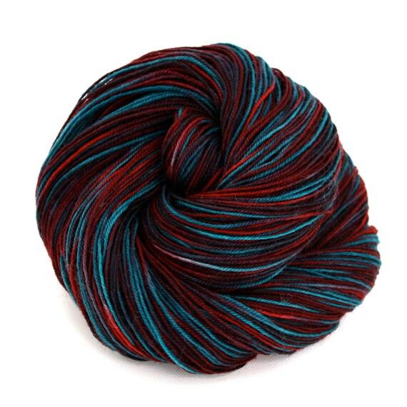 Hand Dyed Superwash Corriedale Wool Fingering Sock Yarn - Blue Raspberry