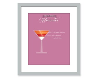 ALEXANDER Bar art mixology print quote art - Bartender Restaurant Kitchen poster- Martini glass
