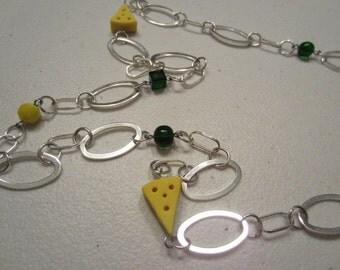 Green Bay Packer Necklace With Cheese Charms